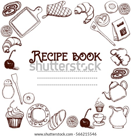 Design Of Recipes Book Hand Drawn Doodles Objects Food And Utensils Cookbook Eps10