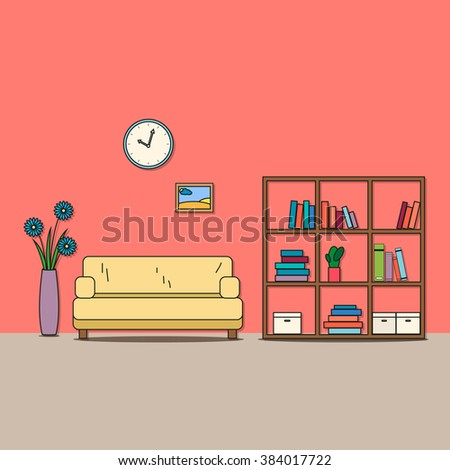 Interior Living Room Furniture Pictures Vector Stock