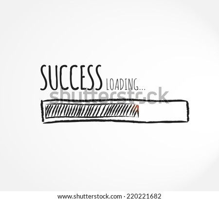 Design of success progress bar loading, concept of creating or waiting for success  - stock vector