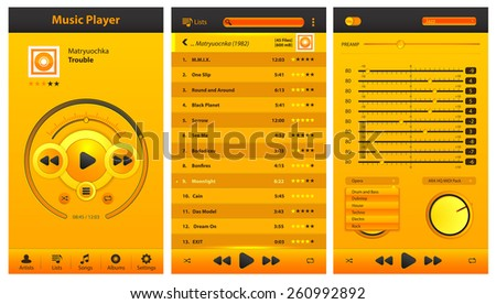 Design of the app and set of buttons and icons for a musical player - stock vector