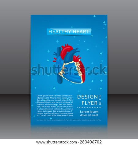 Design of the flyer with healthy heart. Healthy lifestyle. Structure of human heart. - stock vector