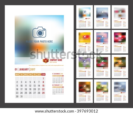 Design of Wall Monthly Calendar for 2017 Year. Print Template with Place for Photo, Your Logo and Text. Week Starts Monday. Portrait Orientation. Set of 12 Months. Vector. - stock vector
