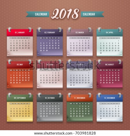month to month calendar 2018