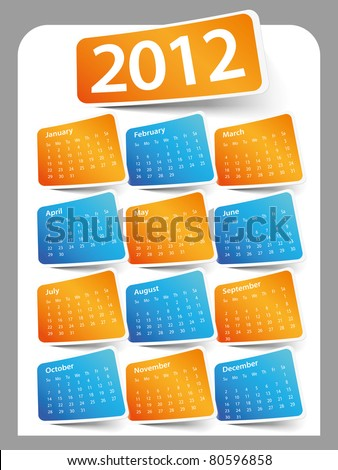 Design on a white background color 2012 calendar - stock vector