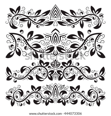 Design ornamental elements. Vintage headline decorations set. Floral tattoo in baroque style. - stock vector