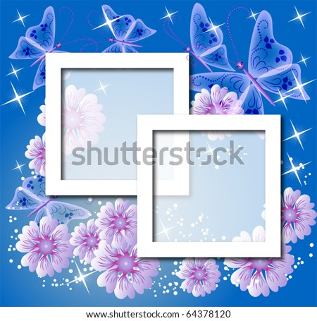 Design photo frames with flowers and butterfly - stock vector