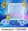 Design photo frames with flowers and butterfly for inserting text or photo - stock vector