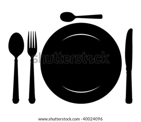 Design place setting with knife, plate,  spoon and fork. Vector illustration. - stock vector