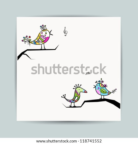 Design postcard with birds on branches - stock vector