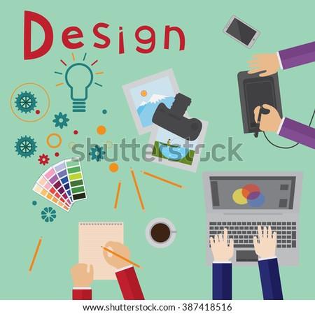 Design process, brainstorming, designers at work - stock vector