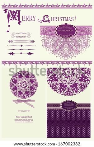 Design purple invitation merry Christmas vector eps 10 - stock vector