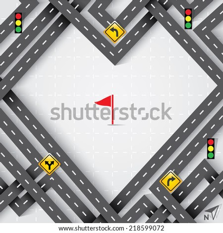 Design Road in The Shape of Heart with Traffic Signs, Travel Con - stock vector