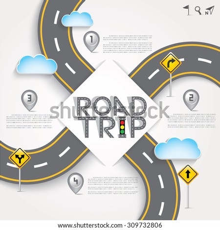 "Design Road & Street Template Background with Words ""Road Trip"" and Number Map Pointer, Vector EPS10. - stock vector"