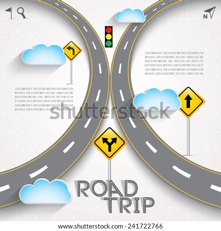 Design Road & Street Template with Words Road Trip and Clouds, Vector EPS10. - stock vector