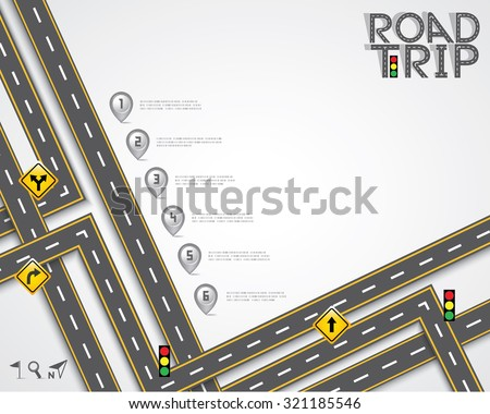 Design Road & Street Template with Words Road Trip and Map Pointer, Vector EPS10.