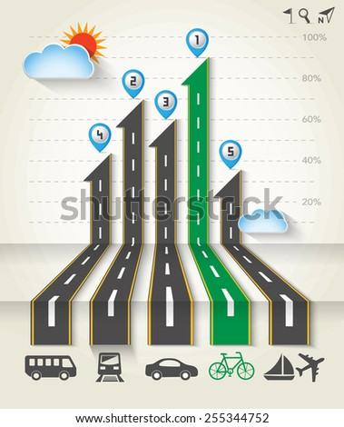 Design road & street with transportation icon set, ecology infographics template, Vector background, Illustration EPS 10. - stock vector