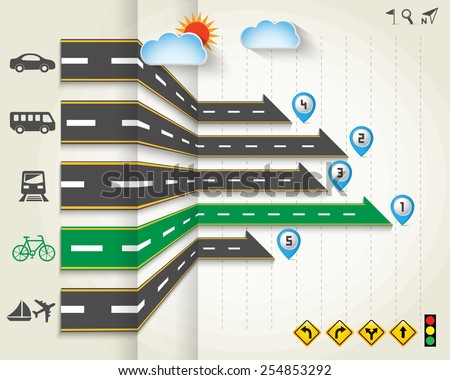 Design road & street with transportation icon set, info graphics template , vector background, Illustration EPS 10. - stock vector