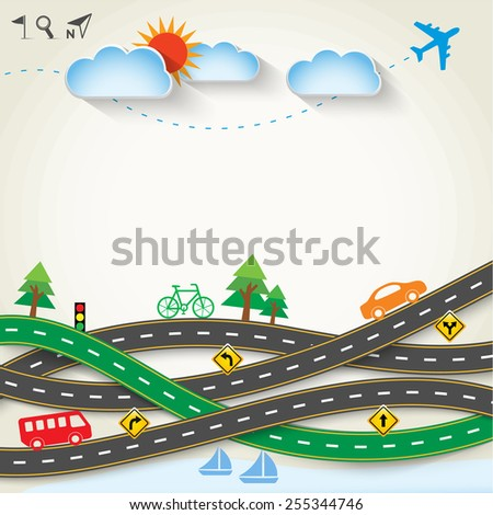 Design road & street with transportation icon set, Vector template background, Ecology concept, Illustration EPS 10. - stock vector
