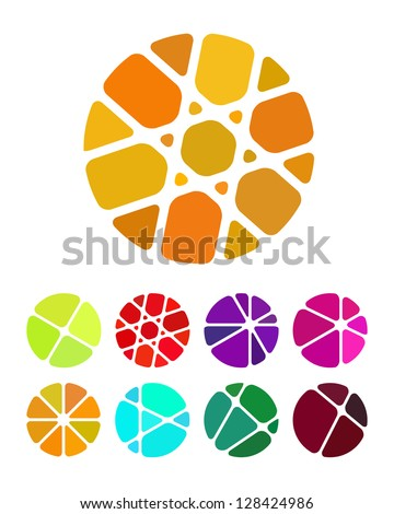 Design round logo element. Crushing abstract circle pattern. Colorful precious stone icons set. - stock vector