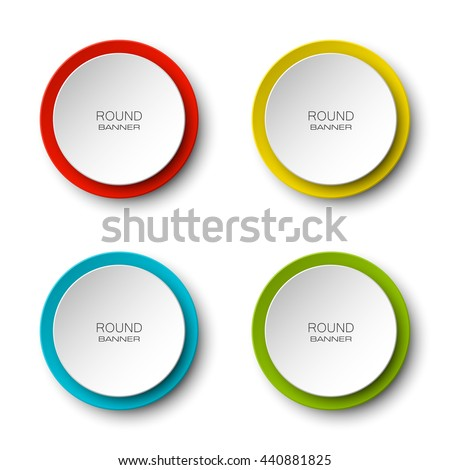Design Round Shape Origami Vector Circle Banner Four Color Stickers Inscriptions