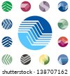 Design round vector logo template. Global world icon set. Colorful ball pattern. You can use in the construction, factories, communications, electronics, or creative design concepts - stock photo