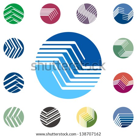Design round vector logo template. Global world icon set. Colorful ball pattern. You can use in the construction, factories, communications, electronics, or creative design concepts - stock vector