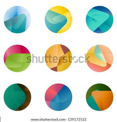 Design round vector logo template. Global world icon set. Colorful ball pattern. You can use in the game, app, communications, electronics, agriculture, or creative design concepts. - stock vector