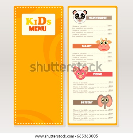 Design Sample Kids Menu Cafes Restaurants Stock Vector