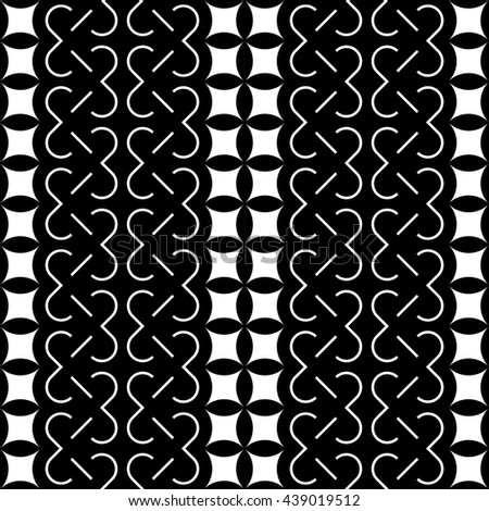 Design seamless monochrome decorative pattern. Abstract striped background. Vector art - stock vector