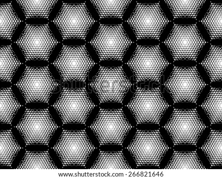 Design seamless monochrome hexagon geometric pattern. Abstract grid textured background. Vector art. No gradient - stock vector