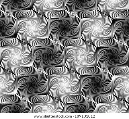 Design seamless monochrome hexagon geometric pattern. Abstract whirl lines textured background. Vector art - stock vector