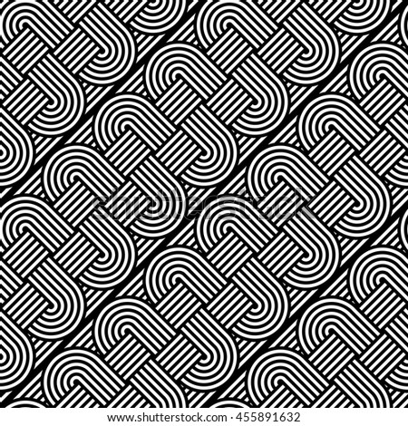 Design seamless monochrome interlaced pattern. Abstract stripy background. Vector art - stock vector