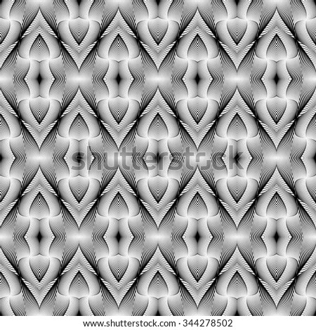 Design seamless monochrome lines pattern. Abstract decorative background. Vector art. No gradient - stock vector