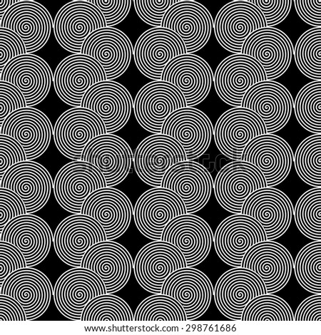 Design seamless monochrome spiral twirl pattern. Monochrome geometric ellipse zigzag background. Vector art - stock vector