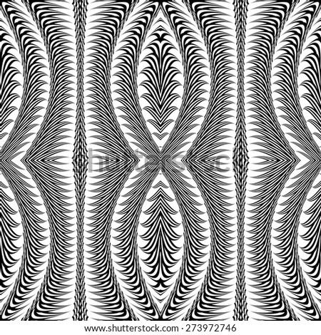 Design seamless monochrome stripy pattern. Abstract warped textured background. Vector art. No gradient - stock vector