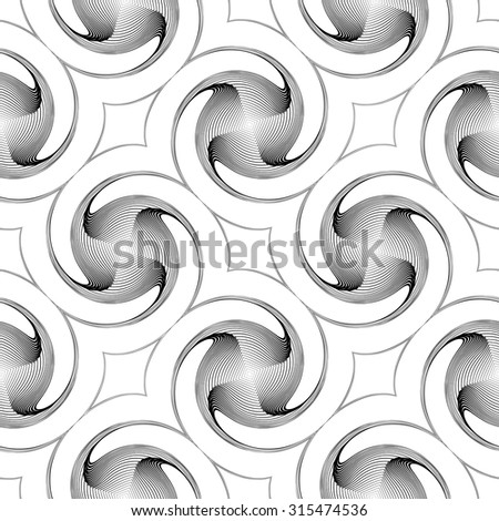 Design seamless monochrome twirl movement background. Abstract decorative pattern. Vector art. No gradient - stock vector