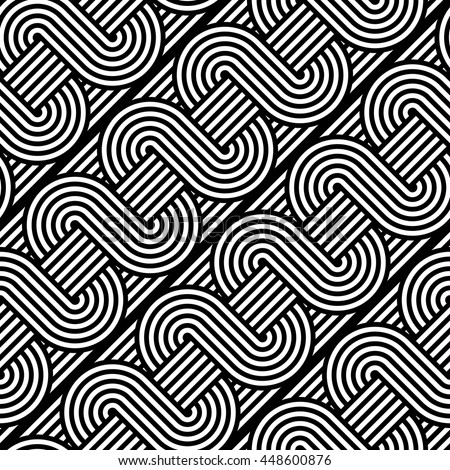 Design seamless monochrome waving pattern. Abstract stripy background. Vector art - stock vector