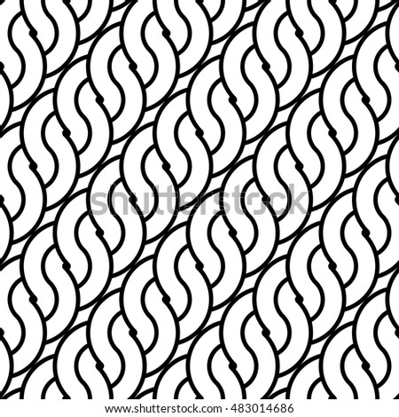 Design seamless monochrome waving pattern. Abstract stripy background. Vector art