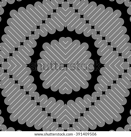 Design seamless monochrome zigzag pattern. Abstract striped background. Vector art. No gradient - stock vector