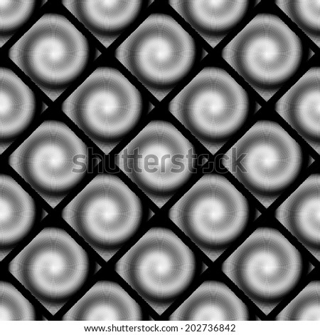 Design seamless spiral movement geometric pattern. Abstract monochrome waving lines background. Speckled twisted texture. Vector art