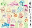 Design set: Child Like Drawn Houses - stock photo