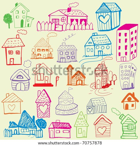Design set: Child Like Drawn Houses - stock vector
