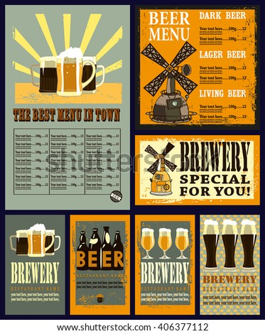 Beer Menu On Wood Background Coat Stock Vector