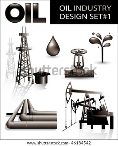 Design set of oil industry vector images (1). - stock vector