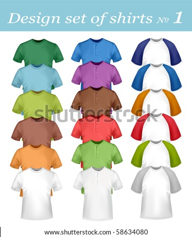 Design set of white and colored shirts. Vector. - stock vector
