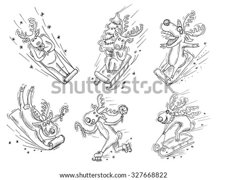 Design set with crazy, funny Christmas deers on sledges, vintage illustration with hand drawn elements - stock vector
