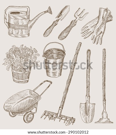 Design set with hand drawn garden tools. Watering can, working gloves, pail with flowers, wheelbarrow, rakes and others. - stock vector