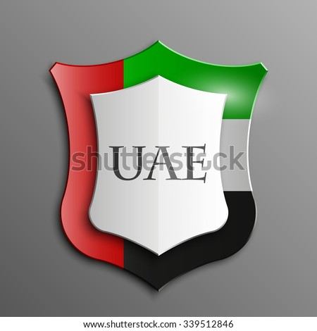 Design Shield  illustration banner with Abstract Background Flag UAE inside. United Arab Emirates template Art - stock vector