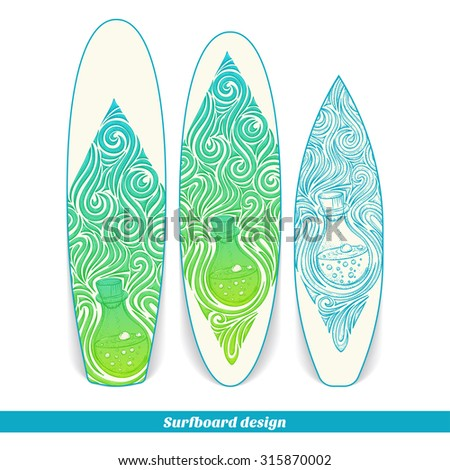 Design surfboard with a color and blue hand drawn pattern of alchemical jar. Located on the white background