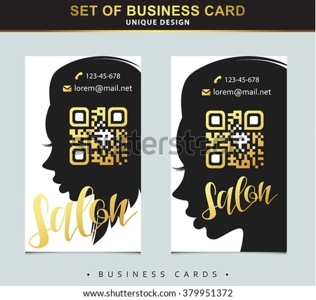 Design template business card beauty salon stock vector 2018 design template business card for beauty salon with gold and place below qr code silhouette cheaphphosting Choice Image